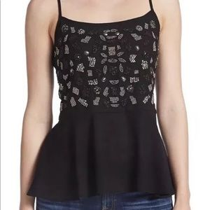 New guess embellished beaded Peplum tank top xs